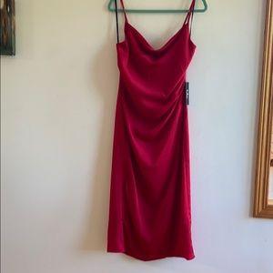 NWT Lulu's cowlneck red midi dress satin size L